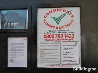 Lillie Square Considerate Constructors Scheme poster on site.