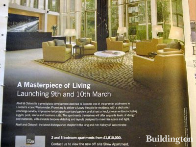 Abell & Cleland - A masterpiece of Living. launching 9th and 10th of March 2013. Advertisement in Homes & Property, Evening Standard 27.02.2013