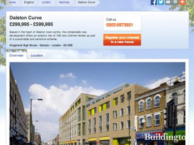 Screen capture of Dalston Curve development page on Taylor Wimpey website www.taylorwimpey.co.uk