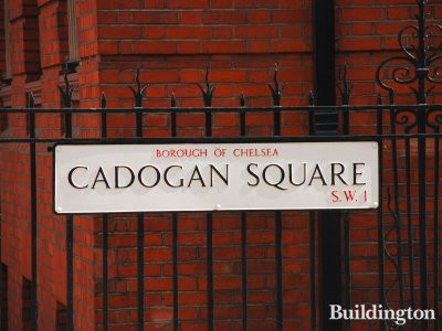 Cadogan Square street sign on the railings at 1 Cadogan Square