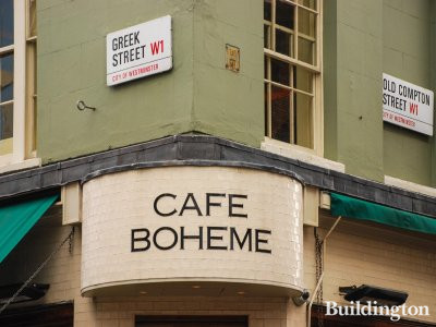 Cafe Boheme at 17 Old Compton Street in Soho, London W1.