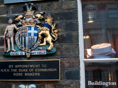 One of three Royal warrants of appointment outside Ede & Ravenscroft store at Burlington Gardens - By appointment to H.R.H. The Duke of Edinburgh robe makers.