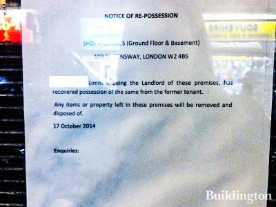 Reposession notice at 109 Queensway in November 2014