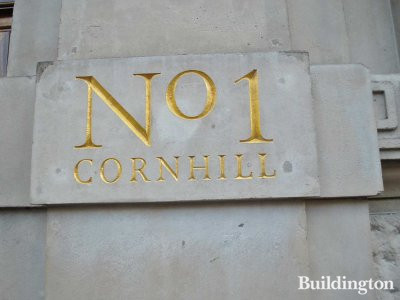 No 1 Cornhill sign on the building.