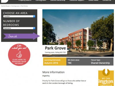 Screen capture of Park Grove development on Family Mosaic website familymosaicsales.co.uk