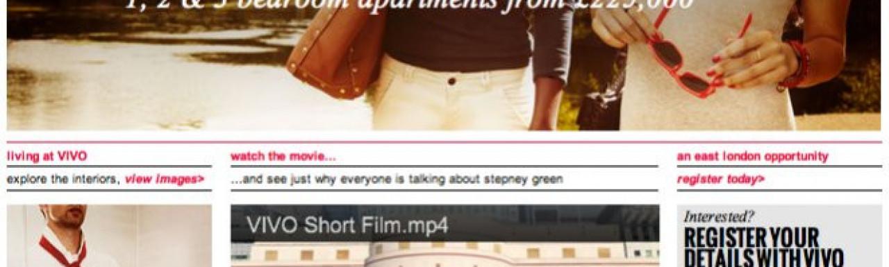 Screen capture of VIVO development website at www.vivolondon.com