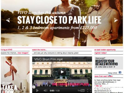 Screen capture of VIVO development website at www.vivolondon.com