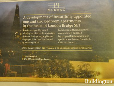 The Murano Building advertisement in Homes & Property section of Evening Standard newspaper 28.11.2012