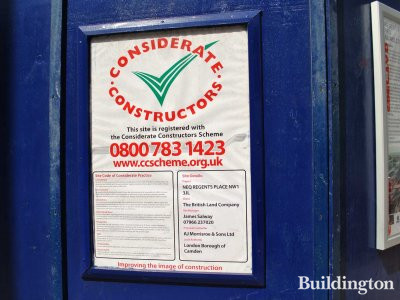 The site is registered with the Considerate Constructors Scheme.