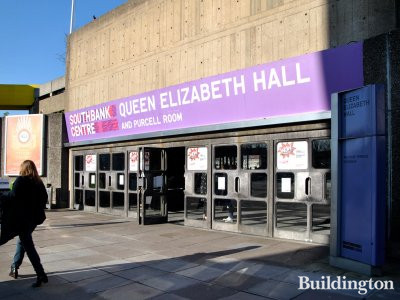 Entrance to Queen Elizabeth Hall and Purcell Room at Southbank Centre.