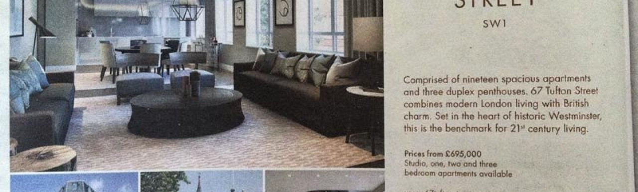 Advertisement for 67 Tufton Street in Homes & Property, Evening Standard, 8.10.2014.