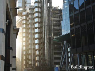 Photo of the Lloyds Building taken from the front of 30 St Mary Axe. Leadenhall Building on the right. In December 2012