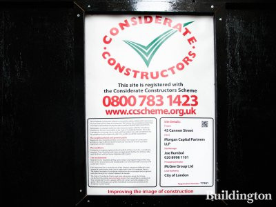 45 Cannon Street development is registered with Considerate Constructors Scheme.