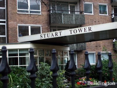 Entrance to Stuart Tower flats on Maida Vale.