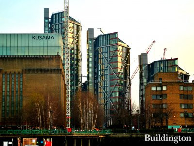 View to NEO Bankside development from Thames. The development is right behind the Tate Modern gallery.