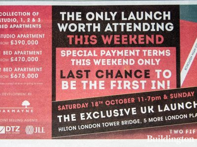 Two Fifty One development advertisement in Homes & Property, Evening Standard, 15.10.2014.