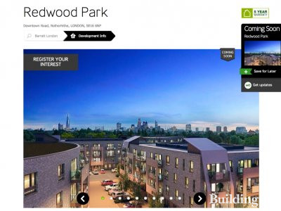 Screen capture of Redwood Park page on barratthomes.co.uk website.