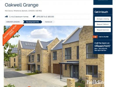 Screen capture of Oakwell Grange development at dwh.co.uk