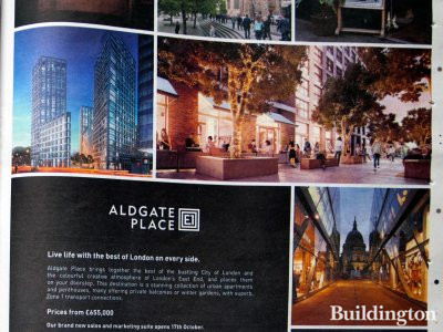 Aldgate Place advertisement in Homes & Property, Evening Standard, 15.10.2014.