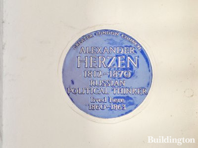 Blue plaque on Orsett House says: Alexander Herzen (1812-1870), Russian political thinker, lived here 1860-1863.