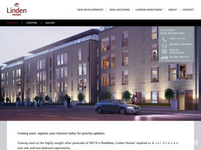 Screen capture of Pavilions page on Linden Homes website