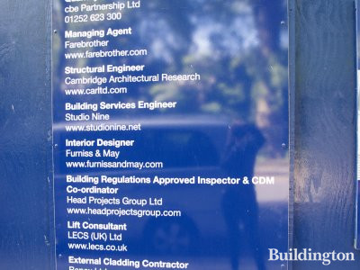 Chelwood House, list of companies involved in the refurbishment works.