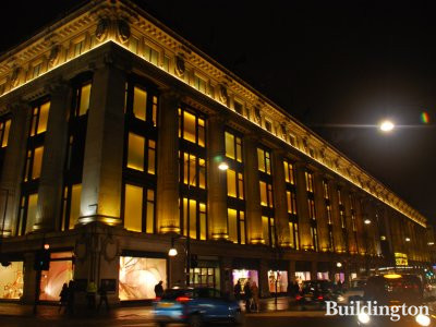 Selfridges at night.