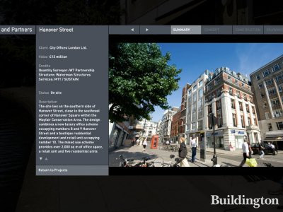 8-10 Hanover Street is a mixed use development in Mayfair. Screen capture of the project details on the architect Squire and Partners website