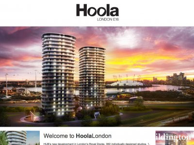 Screen capture of Hoola development website at www.hoola-london.co.uk