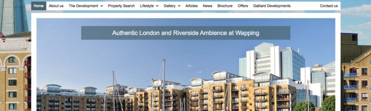Screen capture of Wapping Riverside website at www.wappingriversidee1.com