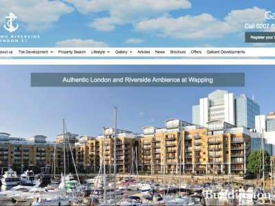 Screen capture of Wapping Riverside website at www.wappingriversidee1.com