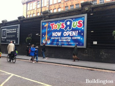 Toys R Us has opened in Whiteleys (1st floor) - banner in Paddington Station in September 2012