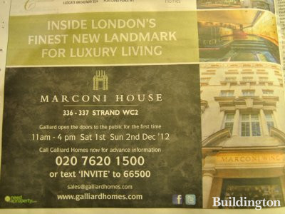 Advertisement for Marconi House in the Homes & Property section of Evening Standard newspaper, London 28.11.2012