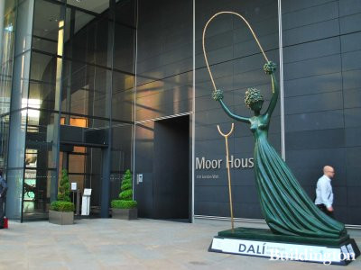 Salvador Dalí's famous 5 metres tall Alice in Wonderland sculpture outside the Moor House entrance on London Wall. This iconic monument, wrought in bronze, is Salvador Dali's tallest sculptural work, and has never before been exhibited in the UK.