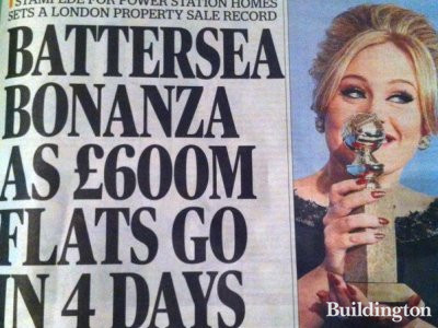The Evening Standard cover - Battersea Bonanza as £600m flats go in 4 days. Monday, 14. January 2013