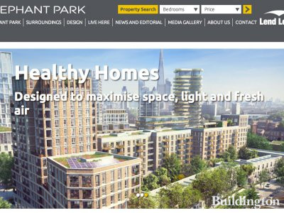 Screen capture of Elephant Park development website at www.elephantpark.co.uk