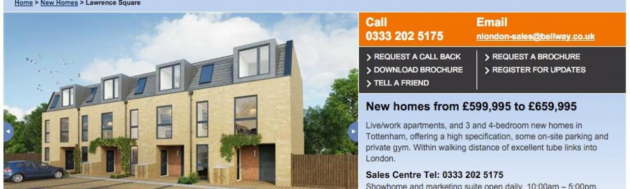Lawrence Square page on Bellway website