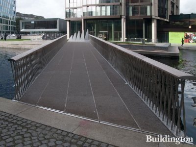 Fan Bridge by Knight Architects over Paddington Basin leading to 3 Merchant Square.