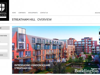 Screen capture of Streatham Hill page on London Square website