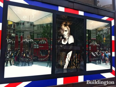 Madonna's new shoe line Truth or Dare on Selfridges' window. On the day of her MDNA 2012 tour reached London.