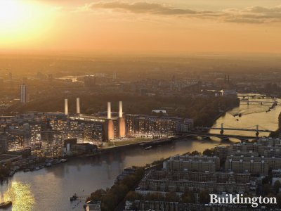 Sunset view of Battersea Power Station development