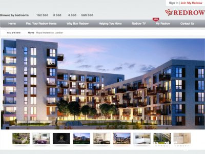 Screen capture of Royal Waterside development page on Redrow website www.redrow.co.uk.
