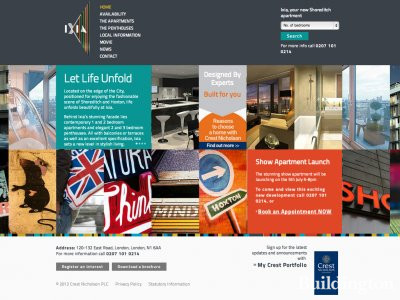 Screen capture of Ixia apartments website at www.ixialondon.co.uk