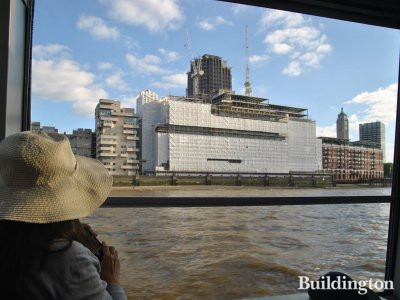 Sea Containers House development in June 2013. View to the building from Thames.