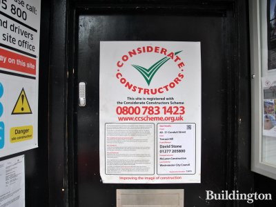 Considerate Constructors poster at 49-51 Conduit Street .