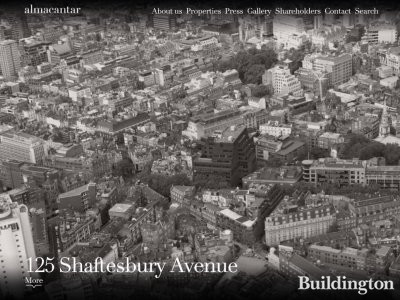 Screen capture of 125 Shaftebury Avenue development on Almacantar's website www.almacantar.com
