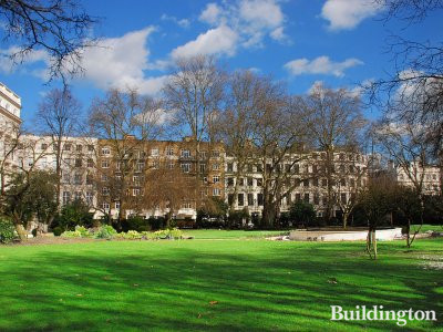 The beautiful Cleveland Square in April 2010. Private square gardens.