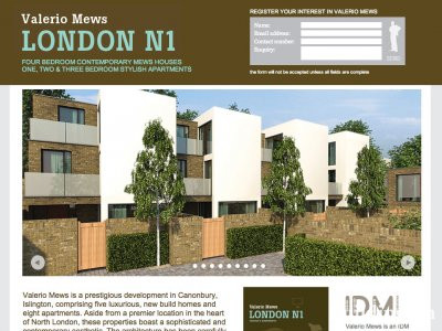 Screen capture of Valerio Mews development website at www.valeriomews-n1.com