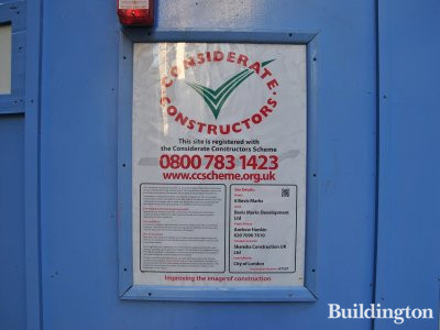 6 Bevis Marks considerate constructiors sign on the site in December 2012