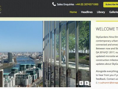 Screen capture of SkyGardens website at www.skygardensnineelms.com